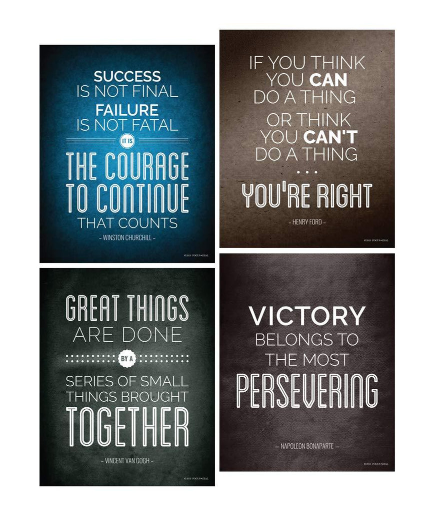 Quotes Motivational Inspirational Happiness Decorative Poster Print for Courage, Think You Can, Great Things, Victory, Persevering, Success 8 x 10 Inch Set of 4 Think