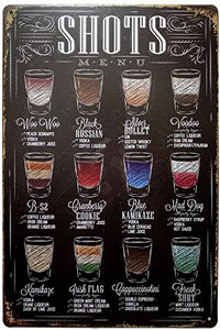 "Shots Menu Retro Vintage Bar Metal Tin Sign poster style 12"" X 8"""