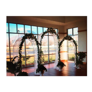 Adorox 7.5 Ft Lightweight White Metal Arch Wedding Garden Bridal Party Decoration Arbor (1) - zingydecor