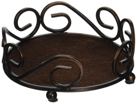Image of Thirstystone Round Scroll Coasters Holder, Bronze