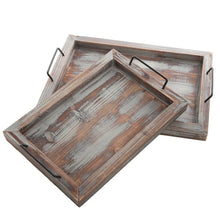 Load image into Gallery viewer, Set of 2 Country Rustic Whitewashed Brown Wood Finish Rectangular Nesting Serving Trays w/ Metal Handles - zingydecor
