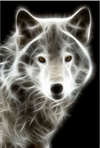 Startonight Wall Art Canvas White Wolf, Animals USA Design for Home Decor, Dual View Surprise Artwork Modern Framed Ready to Hang Wall Art 23.62 X 35.43 Inch 100% Original Art Painting