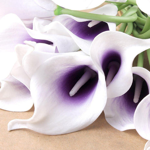 Image of 20pcs Calla Lily Bridal Wedding Bouquet head Latex Real Touch Flower Bouquets(Purple) - zingydecor