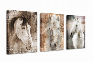 Canvas Wall Art Horse Painting Prints on Canvas Framed Ready to Hang - 3 Panels Vintage Abstract Horses Giclee Prints Fine Art Reproductions for Home and Office Decoration - zingydecor