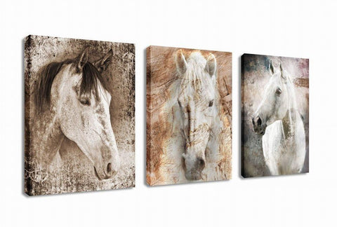 Image of Canvas Wall Art Horse Painting Prints on Canvas Framed Ready to Hang - 3 Panels Vintage Abstract Horses Giclee Prints Fine Art Reproductions for Home and Office Decoration - zingydecor