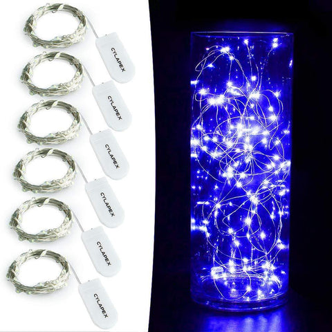 Image of CYLAPEX Pack of 6 LED Starry String Lights with 20 Micro LEDs on 3.3feet/1m Silver Coated Copper Wire, Fairy Lights Battery Powered by 2x CR2032(Incl), for Party Christmas Table Decorations Warm White