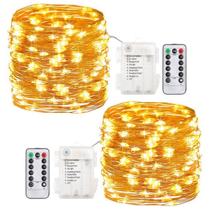 GDEALER 2 Pack Fairy Lights Fairy String Lights Battery Operated Waterproof 8 Modes 60 LED 20ft String Lights Copper Wire Firefly Lights Remote Control for DIY Wedding Party Dinner (Warm White) - zingydecor