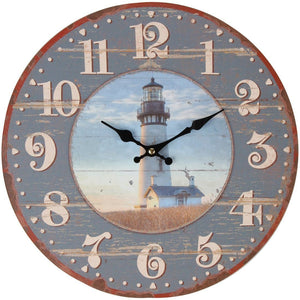 "Lily's Home Rustic Wood-Style Country Lighthouse Wall Clock, Fits Nautical or Country Décor, Battery-Powered with Quartz Movement, Ideal Gift for Lighthouse Fans (13"" Diameter)"