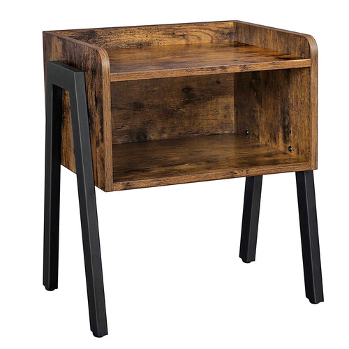Industrial Nightstand, Stackable End Table, Cabinet for Storage, Side Table for Small Spaces, Wood Look Accent Furniture Metal Frame