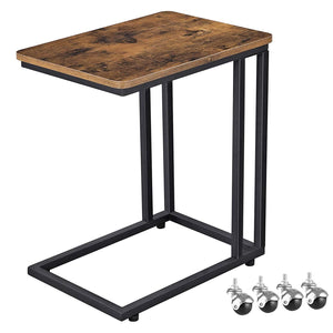 Industrial Side Table, Mobile Snack Table for Coffee Laptop Tablet, Slides Next to Sofa Couch, Wood Look Accent Furniture with Metal Frame