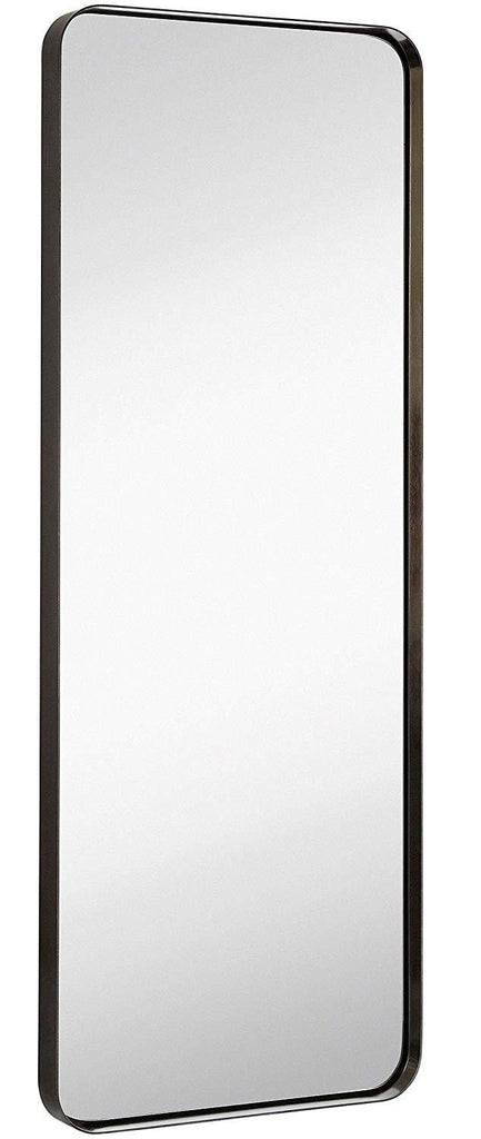 "Hamilton Hills Contemporary Brushed Metal Tall Silver Wall Mirror | Glass Panel Silver Framed Rectangle Deep Set Design (18"" x 48"")"