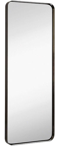 Hamilton Hills Contemporary Brushed Metal Tall Silver Wall Mirror | Glass Panel Silver Framed Rectangle Deep Set Design (18