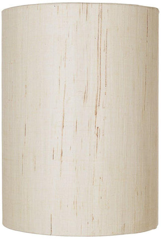 Image of Ivory Linen Drum Cylinder Shade 8x8x11 (Spider)