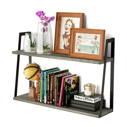 RooLee 2-Tier Floating Wall Mount Shelves Book Shelves Rustic Wood Shelves Perfect Decor for Any Room - zingydecor