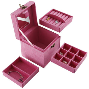 3-Tiered removable Jewelry Box / Makeup Organizer /storage with mirror Pink - zingydecor