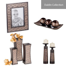 Load image into Gallery viewer, Dublin Home Decor Tray and Orbs Balls Set of 3 - Coffee Table Mantle Decor Centerpiece Bowl with Spheres House Decorations, Decorative Accents for Living Room or Dining Table, Gift Boxed (Brown)