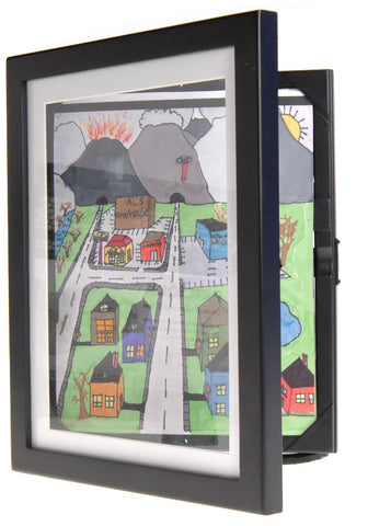 "Image of Child Artwork Frame - Display Cabinet Frames And Stores Your Child's Masterpieces - 8.5"" x 11"" (Black) - zingydecor"