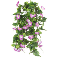 Load image into Gallery viewer, Artificial Vines, 2pcs 15Feet Morning Glory Hanging Plants Silk Garland Fake Green Plant Home Garden Wall Fence Stairway Outdoor Wedding Hanging Baskets Decor Purple - zingydecor