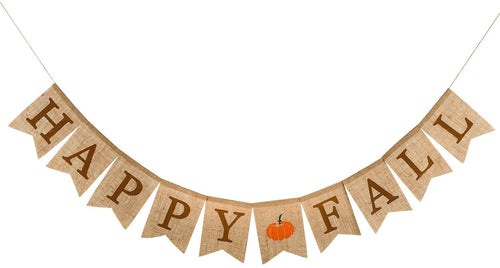 Happy Fall Pumpkin Burlap Banner