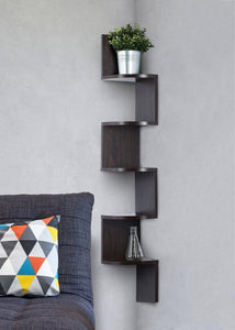 Corner shelf - Espresso Finish corner shelf unit - 5 Tier corner shelves - By Saganizer - zingydecor