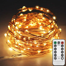 Load image into Gallery viewer, Twinkle Star 200 LED 66 FT Copper String Lights Fairy String Lights 8 Modes LED String Lights USB Powered with Remote Control for Christmas Tree Wedding Party Home Decoration, Warm White