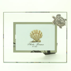 "Glass and Pewter Photo Frame with Sea Turtle - Holds One 4"" X 6"" Picture - Overall Frame 9.5"" X 7.5"""