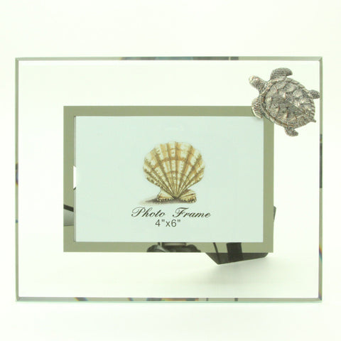 "Image of Glass and Pewter Photo Frame with Sea Turtle - Holds One 4"" X 6"" Picture - Overall Frame 9.5"" X 7.5"""