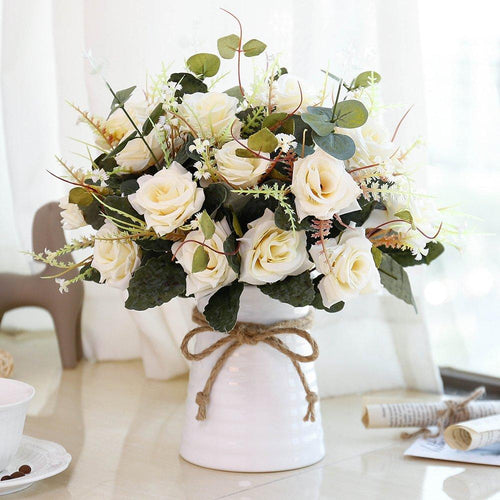 YILIYAJIA Artificial Rose Bouquets with Ceramics Vase Fake Silk Rose Flowers Decoration for Table Home Office Wedding (Champagne) - zingydecor