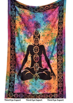 Psychedelic Celestial Indian Sun Hippie Hippy Tapestry Wall Hanging Throw Tie Dye Hippie Hippy Boho Bohemian Tye Die Hand-loomed Window Doorway Door Curtain, Size: L-92 X W-85 Inches