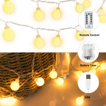 Load image into Gallery viewer, 33 FT 100 LED Globe Ball String Lights, Fairy String Lights Plug in, 8 Modes with Remote, Decor for Indoor Outdoor Party Wedding Christmas Tree Garden, Warm White - zingydecor