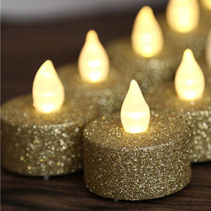 Tea Lights Candles,Gold Led Tea Lights,Gold Flameless Tea Lights,24 Pcs Gold Glitter Votive Tea Lights By Battery Lighting -Wedding Christmas Centerpieces Decoration - zingydecor