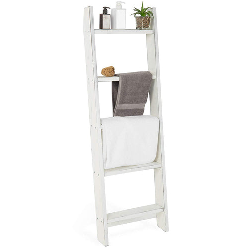 MyGift Wall-Leaning Rustic Gray with White Finish Wood Ladder-Style Blanket Rack - zingydecor