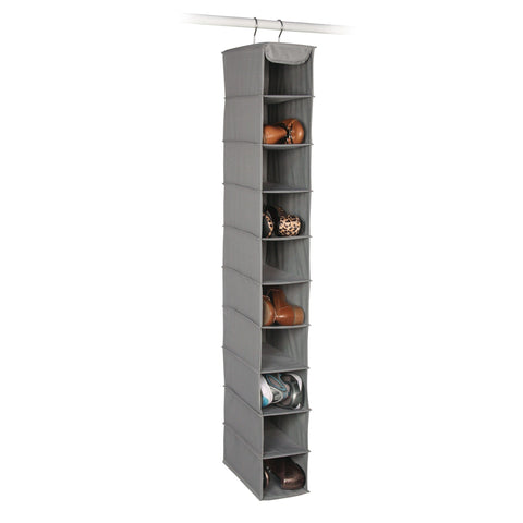Image of Expressive Home Storage Dove Grey 10 Shelf Shoe Organizer
