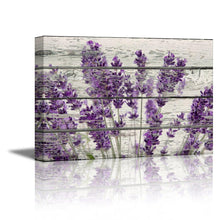 "Wall26 Rustic Home Decor Canvas Wall Art - Retro Style Purple Lavender Flowers on Vintage Wood Background Modern Living Room/Bedroom Decoration Stretched and Ready to Hang - 16"" x 24"" - zingydecor"
