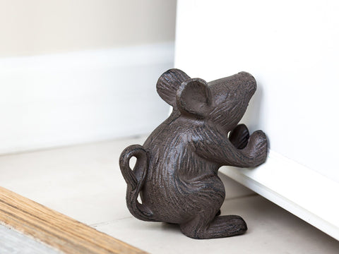 Image of Cast Iron Mouse Door Stop - Decorative Rustic Door Stop - Stop your bedroom, bath and exeterior doors in style - Vintage Brown Color