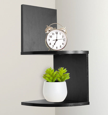 Image of Greenco Modern Design 2 Tier Corner Floating Shelves, Espresso