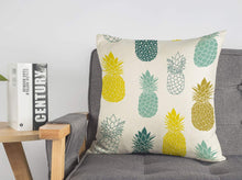 "Load image into Gallery viewer, Pineapples Throw Pillow Cover Summer Beach Decor Cushion Case Decorative for Sofa Couch 18"" x 18"" Inch Cotton Linen (Blue Yellow )"