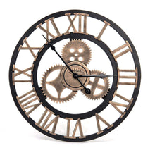 Load image into Gallery viewer, Industrial Wall Clock Handmade 3D Wooden Gear Clock Large Rustic Decorative Wall Clock Big European Retro Vintage Clock Wall Decor for Retro Style Living Room / Office / Bar / Restaurant Decoration