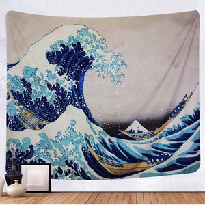 Tenaly Tapestry Wall Hanging, Great Wave Kanagawa Wall Tapestry with Art Nature Home Decorations for Living Room Bedroom Dorm Decor in 51x60 Inches - zingydecor