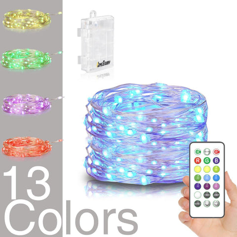 Homestarry LED String Lights,Battery Powered Multi Color Changing String Lights With Remote,50leds Indoor Decorative Silver Wire Lights for Bedroom ,Patio,Outdoor Garden,Stroller,Christmas Tree.(16ft)