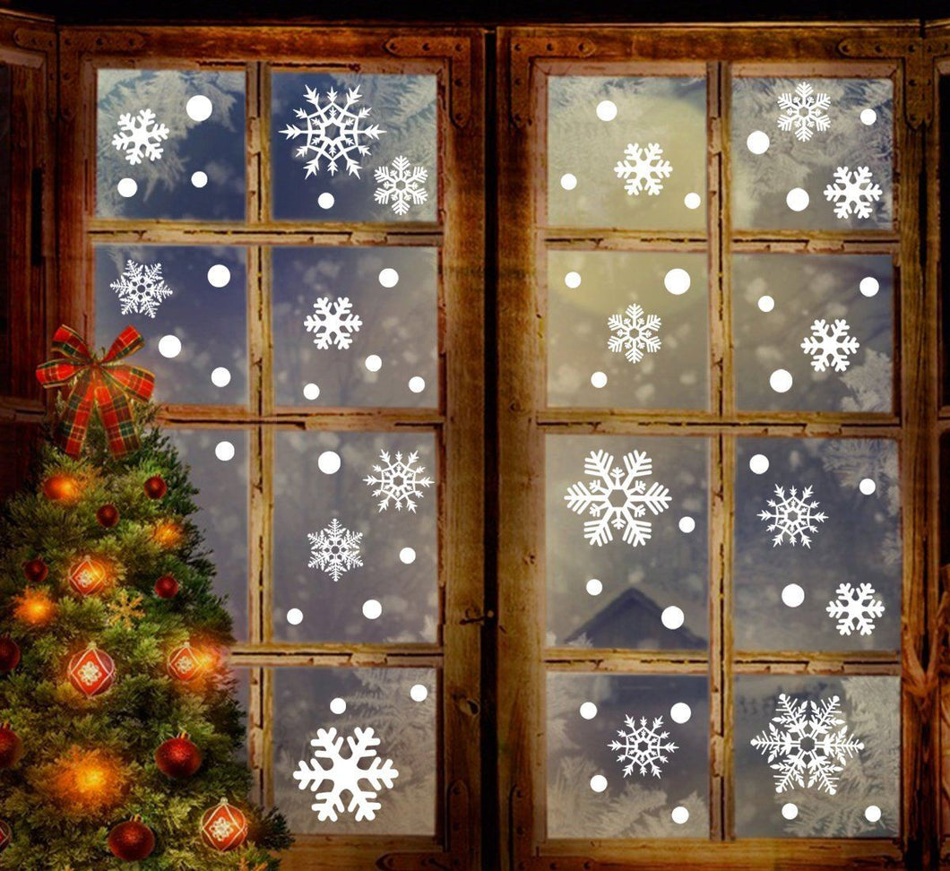 jollylife 360PCS Christmas Snowflake Window Clings Decorations - White Baubles / Bells -Winter Wonderland Party Stickers Decal Ornaments(10 Sheets)