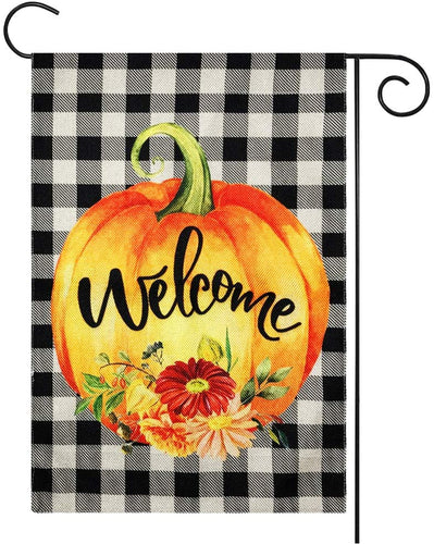 Double Sided, Welcome Pumpkin Fall Garden Flag | 12x18 Inch