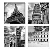 Load image into Gallery viewer, Architectures Modern 4 Panels Giclee Canvas Prints Europe Buildings Black and White Landscape Pictures Paintings on Canvas Wall Art Ready to Hang for Bedroom Home Office Decorations - zingydecor