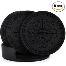 Load image into Gallery viewer, Coasters,Classic Pattern Faux Leather Drink Coasters set of 6 with Holder for Coffee Drinks by Happydavid (black round) - zingydecor
