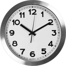 Load image into Gallery viewer, Large Indoor Decorative Silver Wall Clock - Universal Non - Ticking & Silent 12-Inch Wall Clock - by Utopia Home (Aluminium)