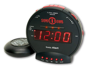 Sonic Alert SBB500SS Sonic Bomb Extra-Loud Dual Alarm Clock with Red Flashing Alert Lights and a Powerful Bed Shaker - zingydecor