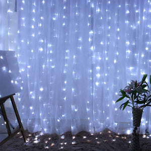 ZSTBT UL Safe 304 LED 9.8Feet Connectable Curtain Lights Icicle Lights Fairy String Lights with 8 Modes for Wedding Party Family Patio Lawn Decoration