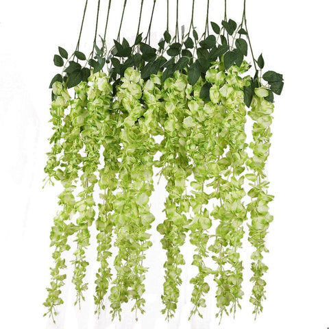 Image of Luyue 3.18 Feet Artificial Silk Wisteria Vine Ratta Silk Hanging Flower Wedding Decor, 6 Pieces,White (White)