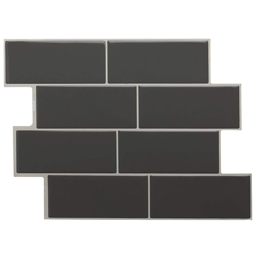STICKGOO Peel and Stick Subway Tile, Stick on Tiles Backsplash for Kitchen & Bathroom 5 Sheet (Dark Grey, Thicker Design) - zingydecor