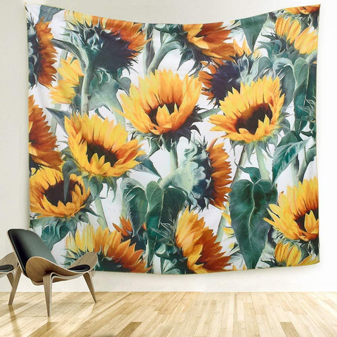 ARFBEAR Sunflower Tapestry, Forever Wall Hanging Warm Golden Yellow and Green Wall and Home Decor 59x51 Inches (Medium) - zingydecor